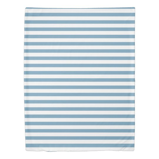 カロライナ名前入りな青および白のストライプ 掛け布団カバー