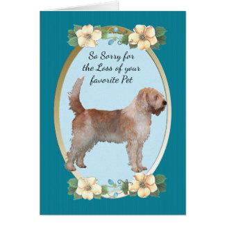 カワウソ猟犬のティール(緑がかった色)の花の悔やみや弔慰-ペット損失 カード