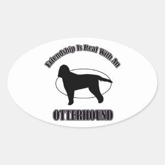 カワウソ猟犬犬のデザイン 楕円形シール