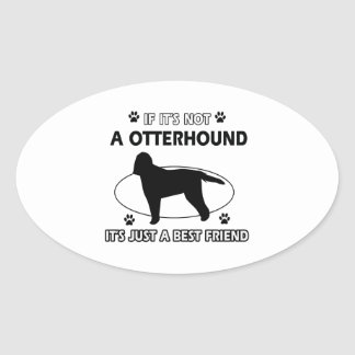 カワウソ猟犬犬の品種デザイン 楕円形シール