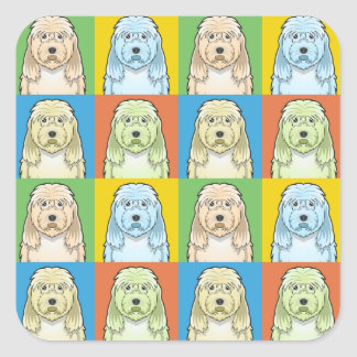 カワウソ猟犬犬の漫画の破裂音芸術 スクエアシール