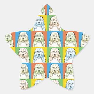 カワウソ猟犬犬の漫画の破裂音芸術 星シール