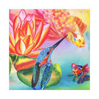 カワセミおよび金魚のキャンバスのプリント キャンバスプリント