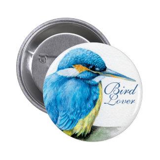 カワセミの鳥の恋人のボタンかバッジ 5.7CM 丸型バッジ