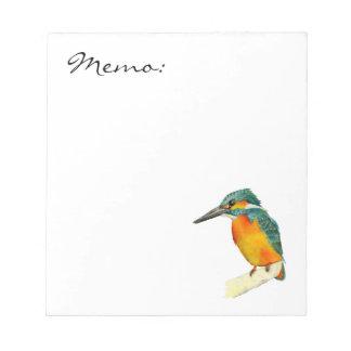 カワセミの鳥の水彩画の絵画 ノートパッド