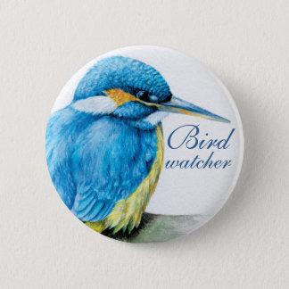 カワセミの鳥監視人のボタンかバッジ 5.7CM 丸型バッジ