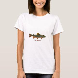 カワマスのはえの魚釣りのロゴ Tシャツ