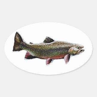 カワマスのロゴ(水泳) 楕円形シール