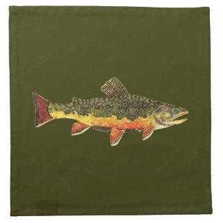 カワマスの魚の絵画 ナプキンクロス