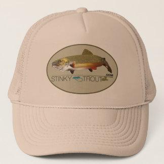 """カワマス図解入りの、写真付きのな""""StinkyTrout.com""""の帽子 キャップ"""