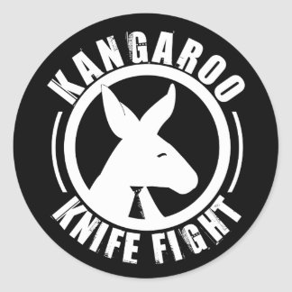 カンガルーのナイフを用いての争い-ロゴのステッカー ラウンドシール