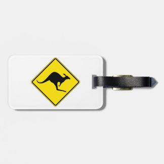 カンガルーの交差、交通警告標識、オーストラリア ラゲッジタグ