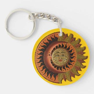 カンクンのマヤの月および日曜日Keychain 丸型(片面)アクリル製キーホルダー