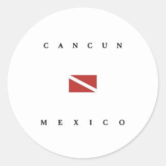 カンクンメキシコのスキューバ飛び込みの旗 ラウンドシール
