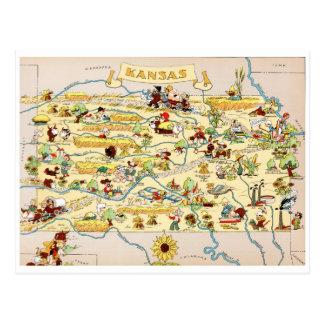 カンザスのおもしろいなヴィンテージの地図 ポストカード