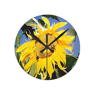 カンザスのヒマワリ ラウンド壁時計