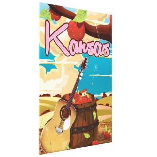 カンザスのヴィンテージの漫画旅行ポスター キャンバスプリント