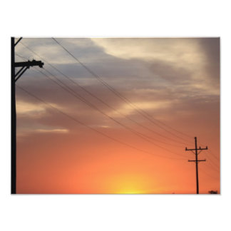 カンザスの国のオレンジの日没 フォトプリント
