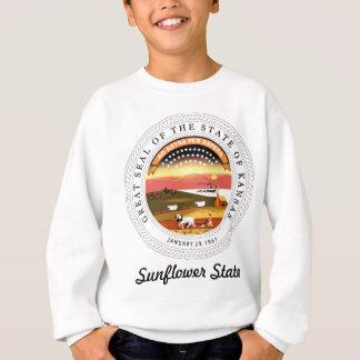 カンザスの州のシールおよびモットー スウェットシャツ