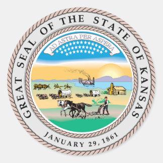 カンザスの州のシールアメリカ共和国の記号の旗 ラウンドシール