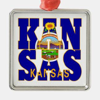 カンザスの州の旗の文字 メタルオーナメント