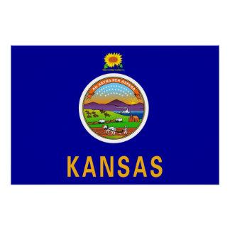 カンザスの旗が付いている愛国心が強い壁ポスター ポスター