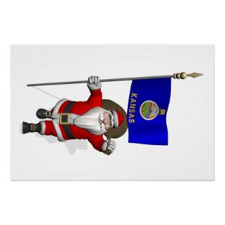 カンザスの旗を持つサンタクロース ポスター