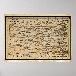 カンザスの旧式な地図 ポスター