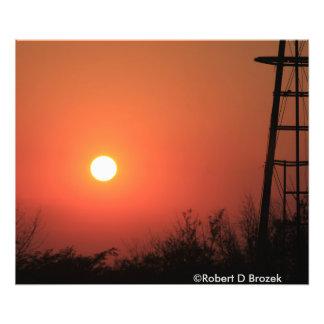 カンザスの燃える赤い日没の写真の拡大 フォトプリント