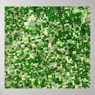 カンザスの穀物の円-土曜日の眺め ポスター