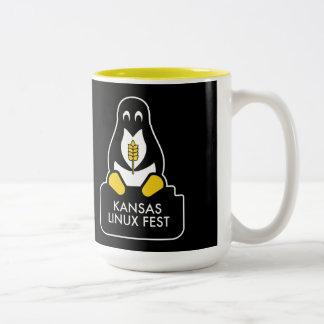 カンザスのLinuxのFestのマグの黒 ツートーンマグカップ