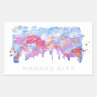 カンザスシティのスカイラインの水彩画 長方形シール