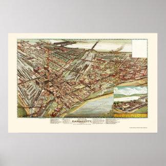 カンザスシティのKSのパノラマ式の地図- 1895年 ポスター