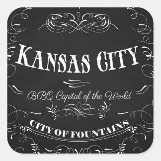 カンザスシティミズーリ-世界のBBQの首都 スクエアシール