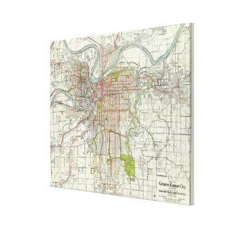 カンザスシティミズーリ(1920年)のヴィンテージの地図 キャンバスプリント