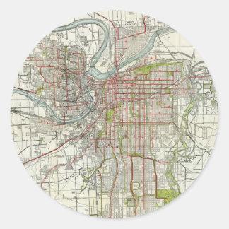 カンザスシティミズーリ(1920年)のヴィンテージの地図 ラウンドシール