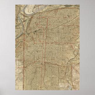 カンザスシティミズーリ(1935年)のヴィンテージの地図 ポスター