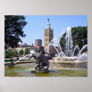 カンザスシティ、ミズーリの広場の噴水 ポスター