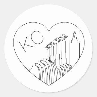 カンザスシティ-最小主義の線画のスカイラインのハート ラウンドシール