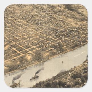 カンザスシティ(1869年)のヴィンテージの絵解き地図 スクエアシール