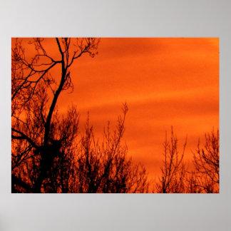 カンザスポスターのオレンジ赤の早い日の出 ポスター