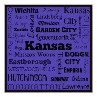 カンザス都市タイポグラフィの芸術ポスター ポスター
