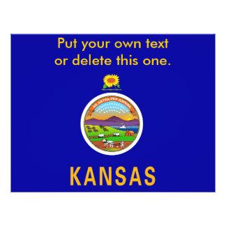 カンザス、米国の旗が付いているフライヤ チラシ