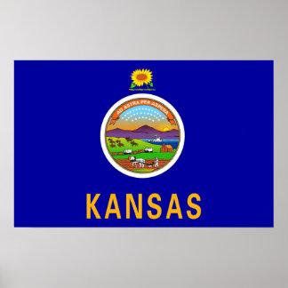 カンザス、米国の旗が付いている組み立てられたプリント ポスター