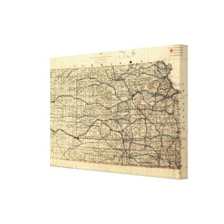 カンザス(1884年)のヴィンテージの地図 キャンバスプリント