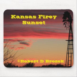 カンザスFireyの日没のマウスパッド マウスパッド