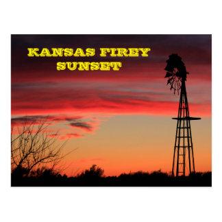 カンザスFireyの日没の郵便はがき ポストカード
