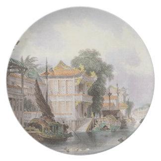 カントン、c.1850 (coloの近くのHoran運河の場面 プレート