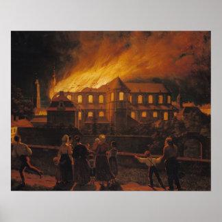 カンブレーのカテドラルの火、1859年9月9日 ポスター