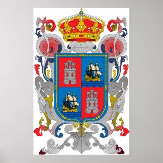 カンペチェメキシコの役人の記号の紋章付き外衣 ポスター
